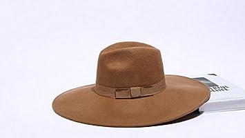 f6e3e924e74 Mxoza - Adult Unisex Black Camel Wool Jazz Hat Men British Vintage Solid  Wide Brim Bow