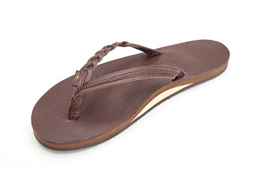 (Rainbow Sandals Women's Flirty Braidy Premier Leather w/Single Braided Strap, Mocha, Ladies Small / 5.5-6.5 B(M) US)