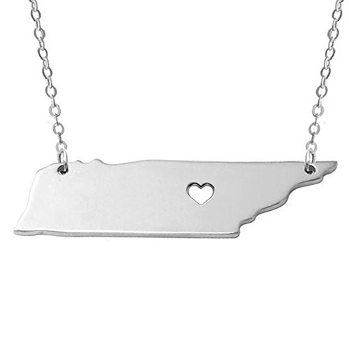 Tennessee Heart Charm - CHOA I heart Tennessee Necklace - Tennessee Pendant Necklace - Charm State Pendant for Birthday Gift (silver)