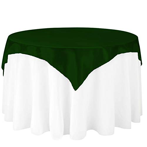 (LinenTablecloth 72-Inch Square Satin Overlay Hunter Green )