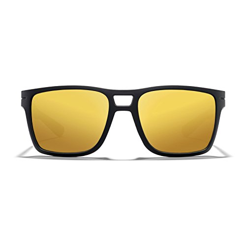 ROKA Kona Performance Sunglasses for Men and Women Matte Black Frame - Bronze Lens with Gold - Kona Sunglasses