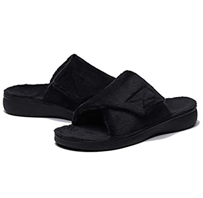 SOLLBEAM Fuzzy House Slippers with Arch Support Orthotic Heel Cup Sandals for Women