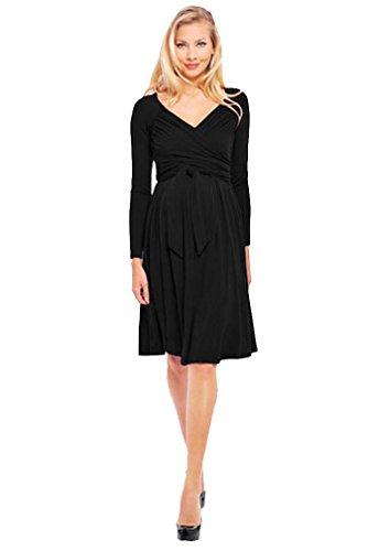 Olian Lucy Long Sleeve Maternity Wrap Dress - Black - Medium