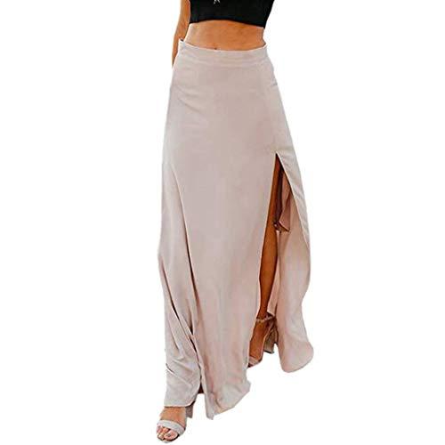 - Women Sexy High Waist Chiffon Flowy Vintage Side Split Long Maxi Bottom Skirts Khaki