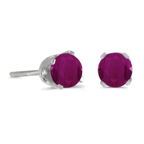 (4 mm Round Ruby Screw-back Stud Earrings in 14k White Gold)