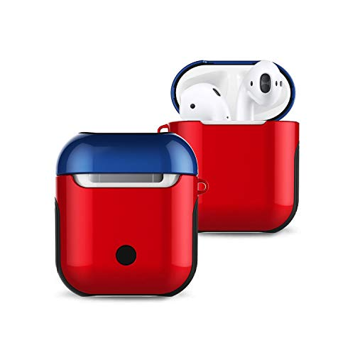 Fly-Touch Applicable to The New for Apple for Airpods Bluetooth Headset Protection Hard Shell Two in One TPU + Pc Drop Protection Sleeve-Varnish - Red + Dark Blue-Air Pods