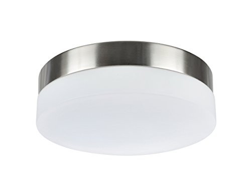(Aspen Creative 63002M-1 LED Medium Flush Mount Ceiling Light Fixture, Contemporary Design in Satin Nickel Finish, Frosted Glass Diffuser, 9
