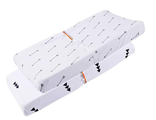 Changing Pad Cover Set 2 Pack 100% Jersey Cotton Ultra Soft and Stretchy for Baby Girl Boy Arrows Print White for a Standard Baby Change Pad by Knlpruhk by Knlpruhk