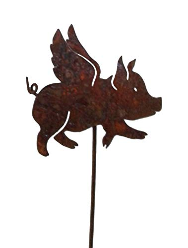 California Home and Garden CH553 Metal Flying Pig Pick for Plants, 20 Inch Tall, Rustic Look Artwork, Brownish Red