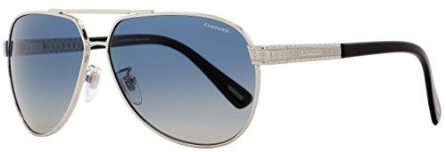 Chopard Aviator Sunglasses SCHB28 579P Shiny Palladium/Black Polarized (Palladium Black Sunglasses)