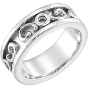 Jambs Jewelry 14K White Etruscan-Inspired Ring Mounting ()