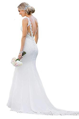 (Princess Women's Sexy Backless Appliques Wedding Dresses 2019 Long Mermaid Lace Bridal Gowns White 16)