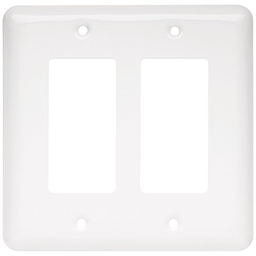 Franklin Brass W10252-W-C Stamped Round Double Decorator Wall Plate/Switch Plate/Cover, White
