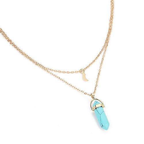 (Kaputar Women Yoga Reiki Healing Jade Crystal Pendant Double Chain Moon Chakra Necklace   Model NCKLCS - 19905  )