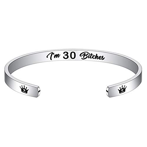 30th Birthday Gifts for Women Bracelet - Engraved Bracelet Funny Birthday Presents For Women Turning 30 Year Old Birthday Gift Ideas Girls Weekend for Friend, Wife, Girlfriend, Mom, Sisters, Her, BBF