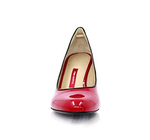 Décolleté In Vernice Rockabilly Rosso Con Tacco In Pelle Nappa 7cm Rosso Valentinstag