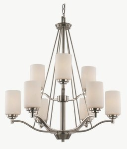 Trans Globe Lighting 70529-BN 9 Light 2 Tier Chandelier,Brushed Nickel