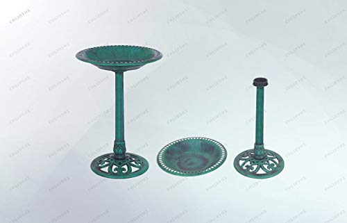 COLIDYOX>Antique Birdbath Green Pedestal Decor Bird Bath 3L Capacity Outdoor Garden, constructed of weather and frost resistant resin for a durable yet, lightweight build, antique verdigris effect, mi ()