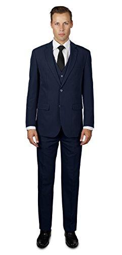 Alain Dupetit Men's Three Piece TR Blend Suit 44R Navy Blue