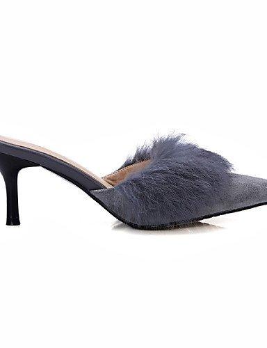 ShangYi Women's Shoes Suede / Sheepskin Stiletto Heel Heels / Slingback / Pointed Toe Heels / Clogs & Mules Outdoor Black AYsFq