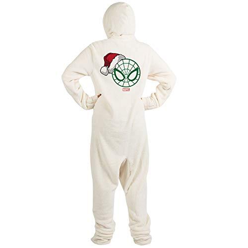 CafePress Spider Man Santa Novelty Footed Pajamas, Funny Adult One-Piece PJ Sleepwear Creme]()