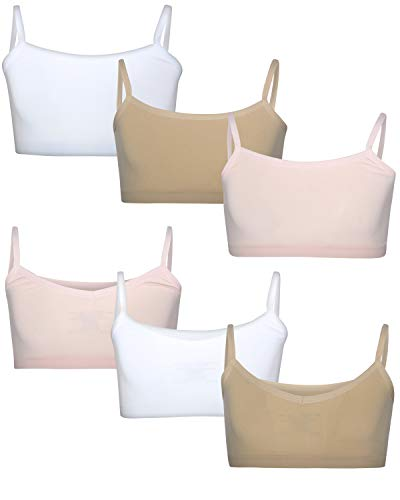 - Rene Rofe Girl's Nylon/Spandex Seamless Reversible Crop Top Training Bra (6 Pack), Pink/White/Nude, X-Large'