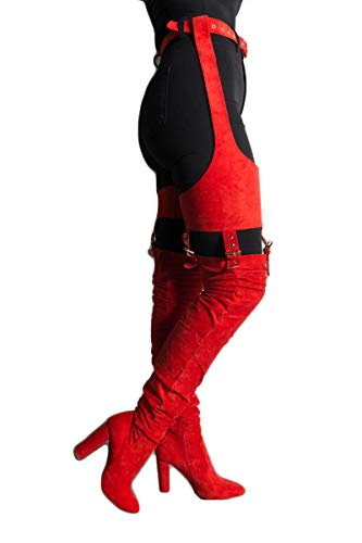 AZALEA WANG Faux Suede Chunky Heel Red Rihanna Belted Garter Chaps Suspender Boots-RED SUEDE_7.5