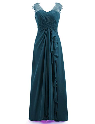Miao Duo Women's Maxi Lace Applique Sweetheart Bridesmaid Dress Long Formal Gowns Chiffon Pleated Jade 20W
