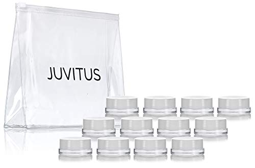 Clear Glass 7 ml Thick Wall Airtight Small Balm Sample Wax Concentrate Jars with White Foam Lined Smooth Lids (12 Pack) + Travel Bag