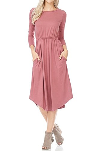 iconic luxe Women's Hight Quality Knit Midi Dress with Shirred Waist Large (Shirred Waist Knit Dress)