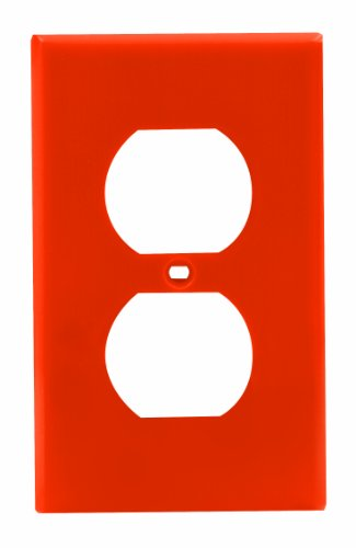 Leviton 80703-ORG 1-Gang Duplex Device Receptacle Wallplate, Standard Size, Orange ()