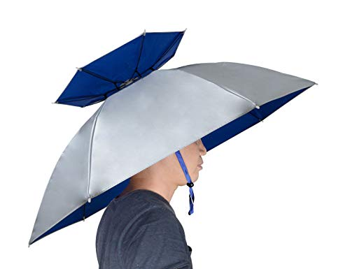 NEW-Vi Fishing Umbrella Hat Double Layer Folding Compact UV Wind Protection Adjustable Golf Umbrella Caps Gardening Outdoor ()