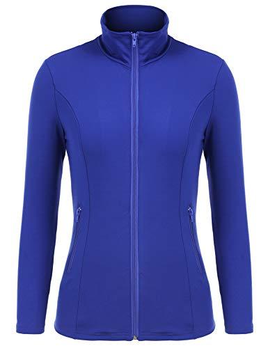 Bosbary Women's Sports Jacket Lightweight Full Zip Workout Jacket with Zipper Pockets(Blue,Small)