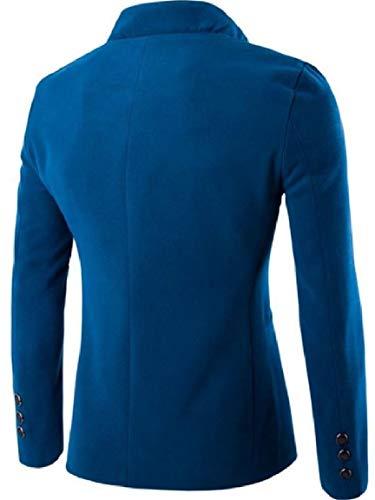 Mogogo Tang Misto Outwear Collare Solido Mens Lago Blu Giacca Monopetto Del Lana Vestito Basamento BqCAB