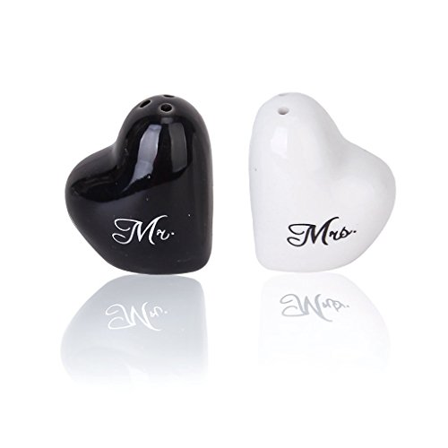 Heart-shaped Salt & Pepper Ceramic Shakers Fit for Wedding, Party Favors 2pcs