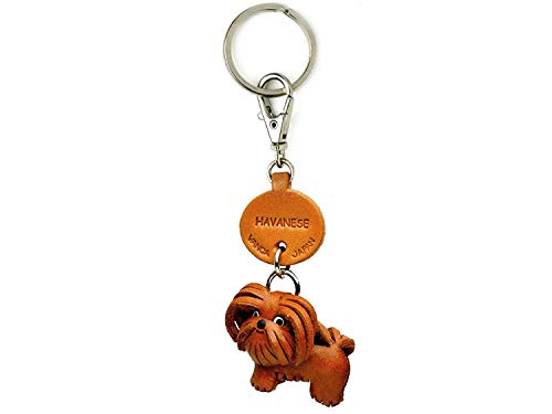 Leather Dog Keychains - Havanese Leather Dog Small Keychain VANCA Craft-Collectible Keyring Charm Pendant Made in Japan