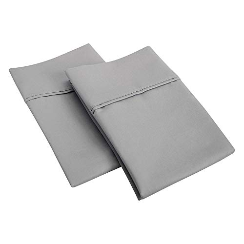SGI bedding 600 Thread Count 100% Egyptian Cotton King Size Pillowcase 20X40 Light Grey Solid (Pack of 2)