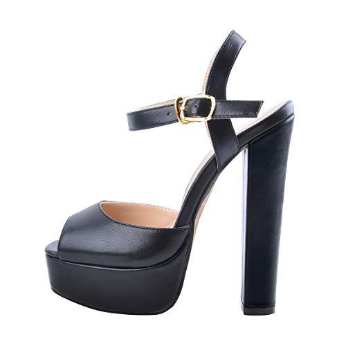 Onlymaker Women's Ankle Strap Peep Toe Platform Chuncky High Heel Sandals Slingback Squre Toe Party Dress Casual Shoes Black Matte 7 M US ()