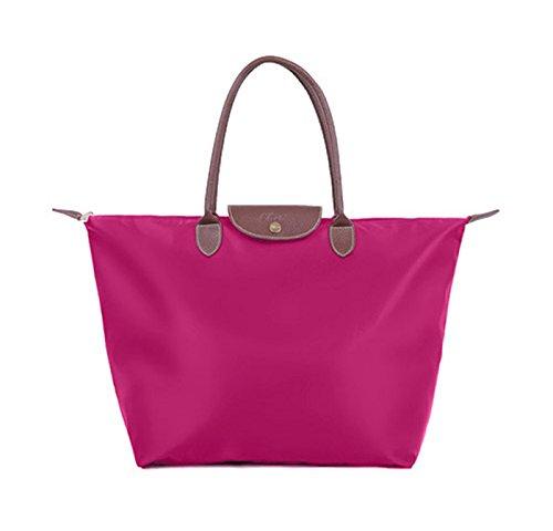 Bolsos de nylon, bolso de la momia del paño de Oxford, bolsos de compras del recorrido del hombro del hombro, bolso de las bolas de masa hervida ( Color : Vino rojo ) Rosa Roja