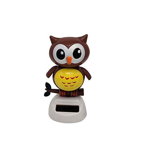 CHSHU Solar Powered Dancing Owl Toy Animal Solar Powered Dancing Dolls Swinging Animated Bobble Dancer Car Decor Desktop Figurines Car Dashboard Office Desk Home Decor Solar Toy (Brown)