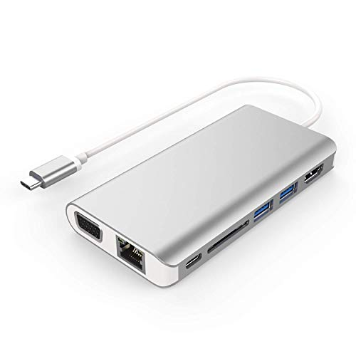 USB Type C Adapter with 4K HDMI, 1000M Ethernet, 1080P VGA, SD Card Reader, 2 USB 3.0 Ports, USB C PD Charging, 3.5mm Audio Output for MacBook Pro ChromeBook More Type C Laptops-Silver