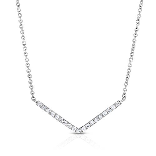 Diamond Bar Necklace 1/5 cttw in Rhodium Plated 14k White Gold
