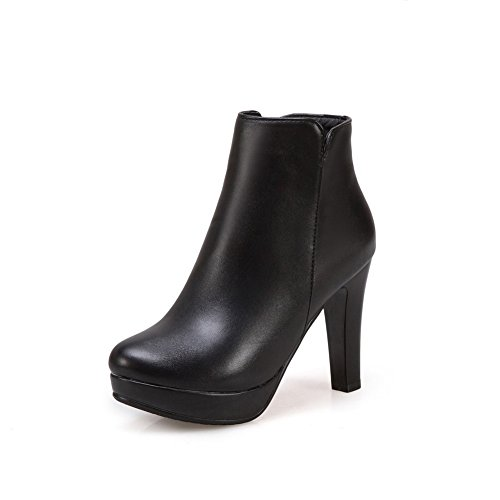 Boots Chunky AdeeSu Platform SXC02659 nbsp;Lining Velvet Womens Heels nbsp; Black Leather HqBwSq8x5