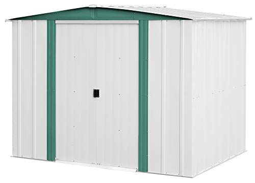 Arrow 8′ x 6′ Hamlet Storage Shed, Yard and Outdoor Storage for Tools, Lawn Equipment, Pool Toys Eggshell and Green