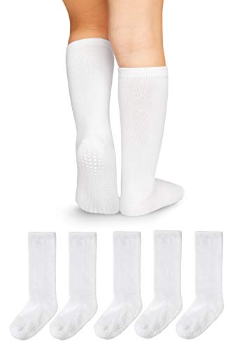 LA Active Knee High Grip Socks - 5 Pairs - Baby Toddler Non Slip/Skid Cotton (White, 12-36 Months) (Grip Socks Knee High)
