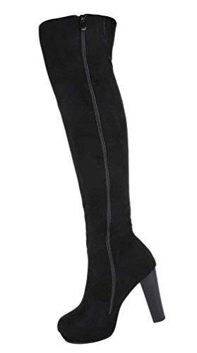 Damen Overknee Stiefel Schuhe Mit Reißverschluss Schwarz Grau 36 37 38 39 40 41 Schwarz
