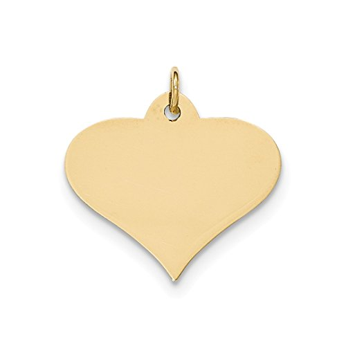 - 14k Yellow Gold .013 Gauge Engraveable Heart Disc Pendant Charm Necklace Engravable Shapely Love Fine Jewelry For Women Gift Set