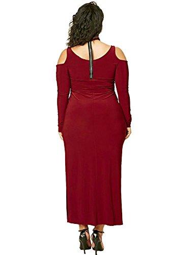 Femmes Taille plus Bordeaux froid épaule ras du cou Maxi robe d'été Robe en jersey longue Robe de fête Taille XL UK 14EU 42