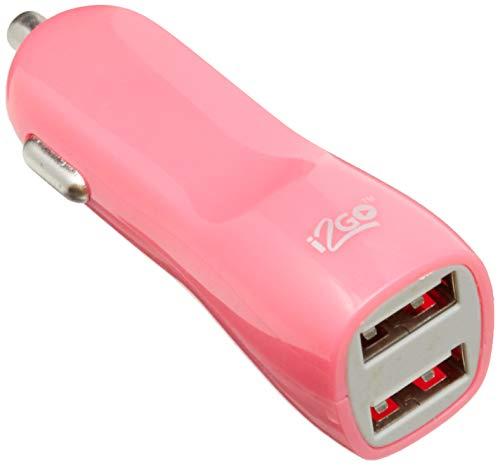 Carregador Veicular 2 USB, i2GO, Entrada 12-24V DC, Rosa