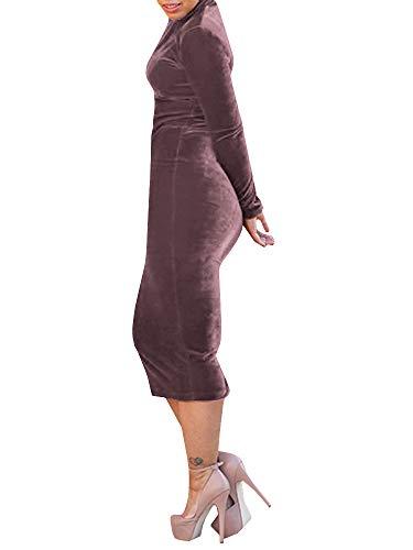 Femmes Chellysun Manches Longues Haute Robe De Velours Midi Rétro Moulante Arrière Du Cou Fente Coffe Lumière
